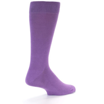 Image of Wisteria Purple Solid Color Men's Dress Socks (side-1-23)