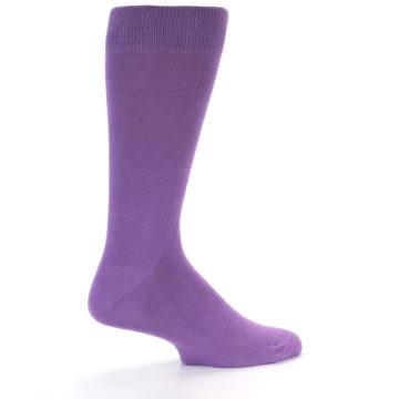 Image of Wisteria Purple Solid Color Men's Dress Socks (side-1-24)