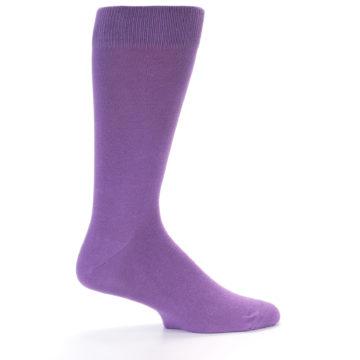 Image of Wisteria Purple Solid Color Men's Dress Socks (side-1-25)