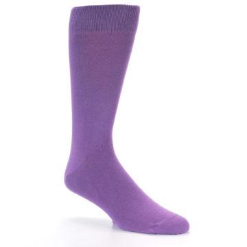Image of Wisteria Purple Solid Color Men's Dress Socks (side-1-27)
