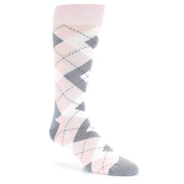 Image of Petal Light Pink Gray Argyle Wedding Men's Dress Socks (side-1-front-01)