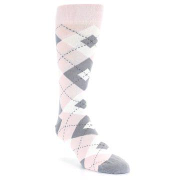 Image of Petal Light Pink Gray Argyle Wedding Men's Dress Socks (side-1-front-02)