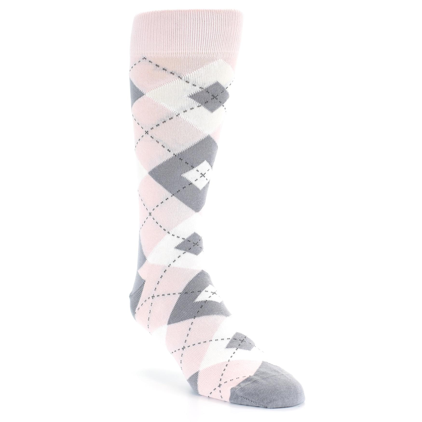 3c5eb49159ca Image of Petal Light Pink Gray Argyle Wedding Men's Dress Socks (side-1-