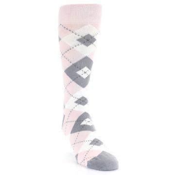 Image of Petal Light Pink Gray Argyle Wedding Men's Dress Socks (side-1-front-03)