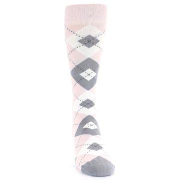 Image of Petal Light Pink Gray Argyle Wedding Men's Dress Socks (front-04)