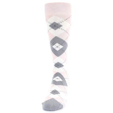 Image of Petal Light Pink Gray Argyle Wedding Men's Dress Socks (side-2-front-06)