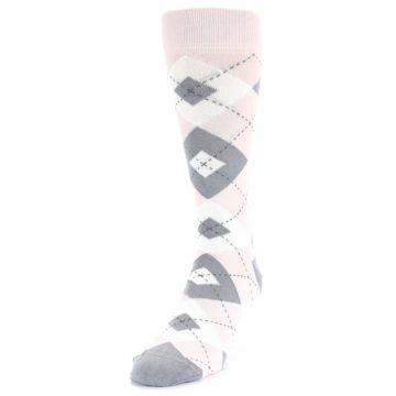 Image of Petal Light Pink Gray Argyle Wedding Men's Dress Socks (side-2-front-07)