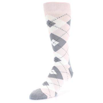 Image of Petal Light Pink Gray Argyle Wedding Men's Dress Socks (side-2-front-08)