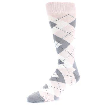 Image of Petal Light Pink Gray Argyle Wedding Men's Dress Socks (side-2-09)