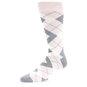 Image of Petal Light Pink Gray Argyle Wedding Men's Dress Socks (side-2-10)