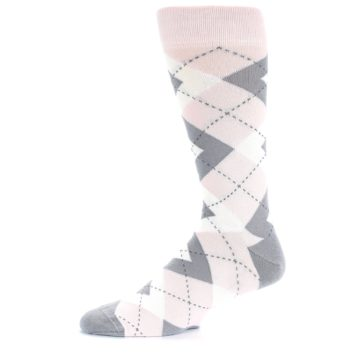 Image of Petal Light Pink Gray Argyle Wedding Men's Dress Socks (side-2-11)