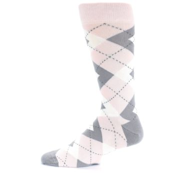Image of Petal Light Pink Gray Argyle Wedding Men's Dress Socks (side-2-12)