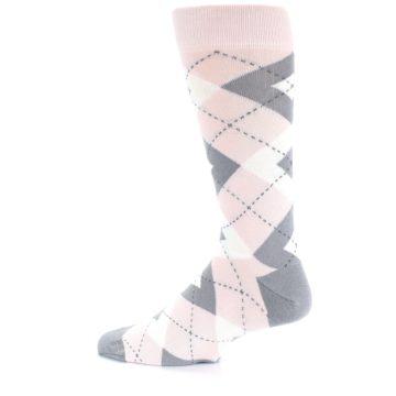 Image of Petal Light Pink Gray Argyle Wedding Men's Dress Socks (side-2-13)