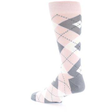 Image of Petal Light Pink Gray Argyle Wedding Men's Dress Socks (side-2-back-14)