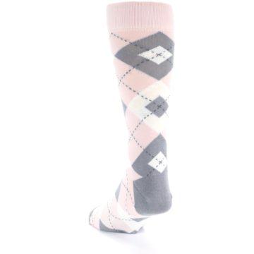 Image of Petal Light Pink Gray Argyle Wedding Men's Dress Socks (side-2-back-16)