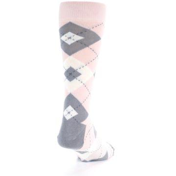 Image of Petal Light Pink Gray Argyle Wedding Men's Dress Socks (side-1-back-20)