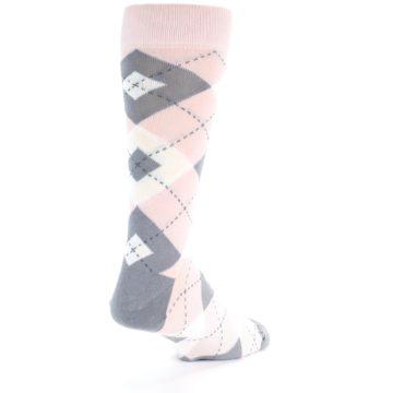 Image of Petal Light Pink Gray Argyle Wedding Men's Dress Socks (side-1-back-21)