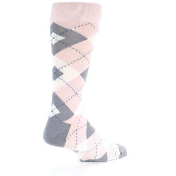 Image of Petal Light Pink Gray Argyle Wedding Men's Dress Socks (side-1-back-22)
