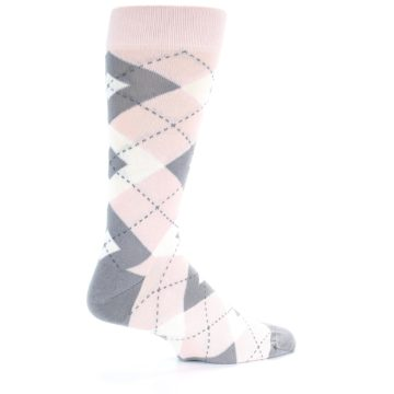 Image of Petal Light Pink Gray Argyle Wedding Men's Dress Socks (side-1-23)