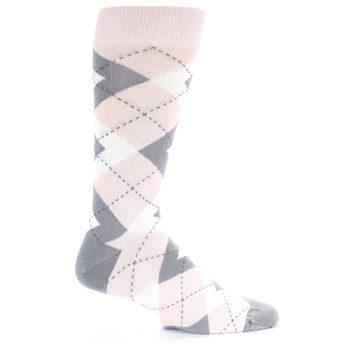 Image of Petal Light Pink Gray Argyle Wedding Men's Dress Socks (side-1-24)
