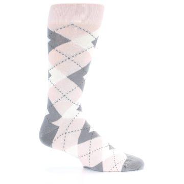 Image of Petal Light Pink Gray Argyle Wedding Men's Dress Socks (side-1-25)