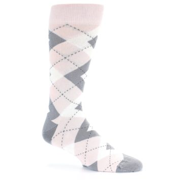 Image of Petal Light Pink Gray Argyle Wedding Men's Dress Socks (side-1-26)