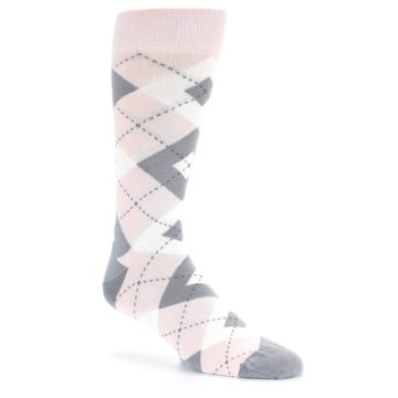 Image of Petal Light Pink Gray Argyle Wedding Men's Dress Socks (side-1-27)