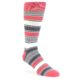 Image of Pink Grey White Stripe Men's Dress Socks (side-1-front-01)