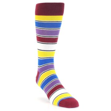 Image of Red Multi-Color Stripe Men's Dress Socks (side-1-front-02)