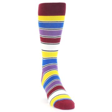Image of Red Multi-Color Stripe Men's Dress Socks (side-1-front-03)