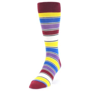 Image of Red Multi-Color Stripe Men's Dress Socks (side-2-front-07)