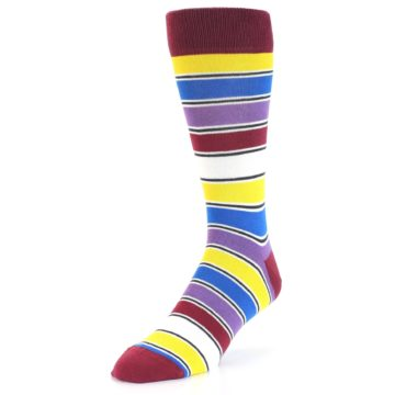 Image of Red Multi-Color Stripe Men's Dress Socks (side-2-front-08)