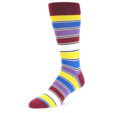 Image of Red Multi-Color Stripe Men's Dress Socks (side-2-09)