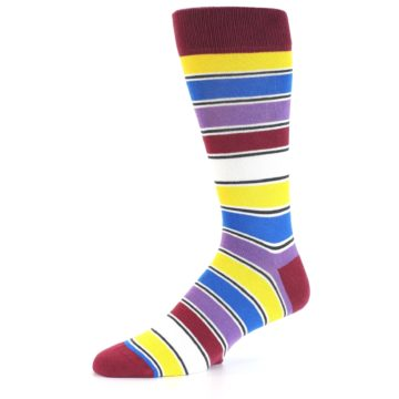Image of Red Multi-Color Stripe Men's Dress Socks (side-2-10)