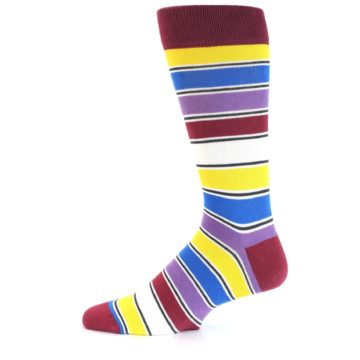 Image of Red Multi-Color Stripe Men's Dress Socks (side-2-12)