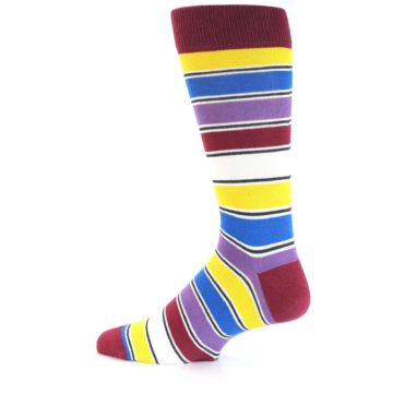 Image of Red Multi-Color Stripe Men's Dress Socks (side-2-13)