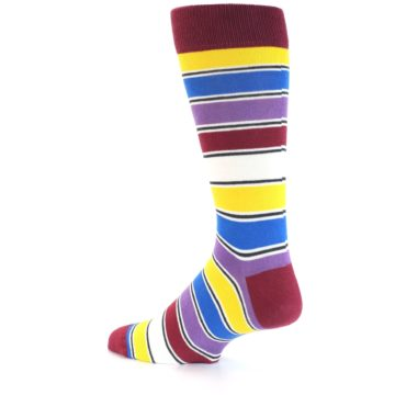 Image of Red Multi-Color Stripe Men's Dress Socks (side-2-back-14)