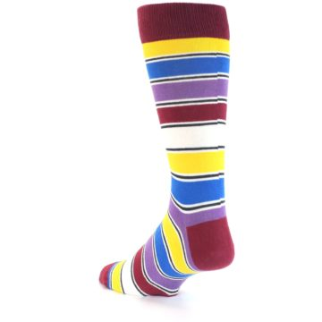 Image of Red Multi-Color Stripe Men's Dress Socks (side-2-back-15)