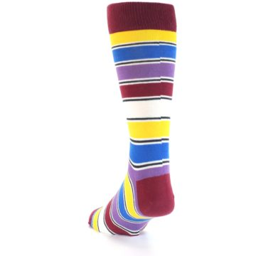 Image of Red Multi-Color Stripe Men's Dress Socks (side-2-back-16)
