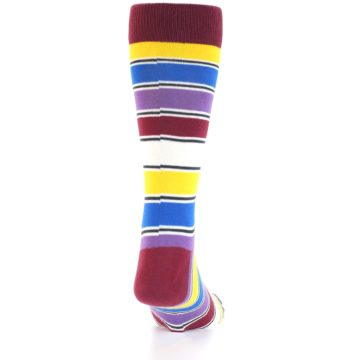 Image of Red Multi-Color Stripe Men's Dress Socks (back-19)