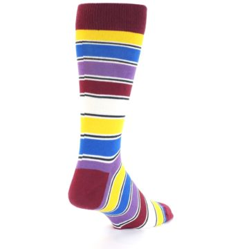 Image of Red Multi-Color Stripe Men's Dress Socks (side-1-back-21)