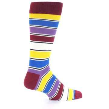 Image of Red Multi-Color Stripe Men's Dress Socks (side-1-23)
