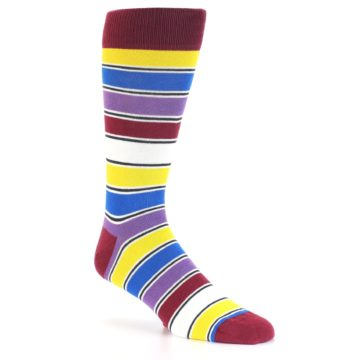 Image of Red Multi-Color Stripe Men's Dress Socks (side-1-27)