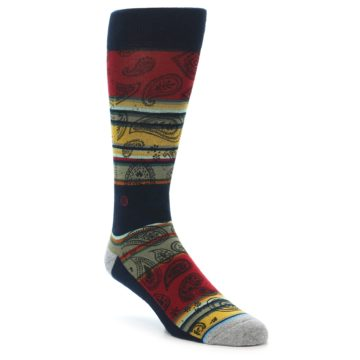 Image of Multi-Color Paisley Men's Casual Socks (side-1-front-01)