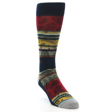 Image of Multi-Color Paisley Men's Casual Socks (side-1-front-02)