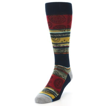 Image of Multi-Color Paisley Men's Casual Socks (side-2-front-07)