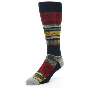 Image of Multi-Color Paisley Men's Casual Socks (side-2-front-08)
