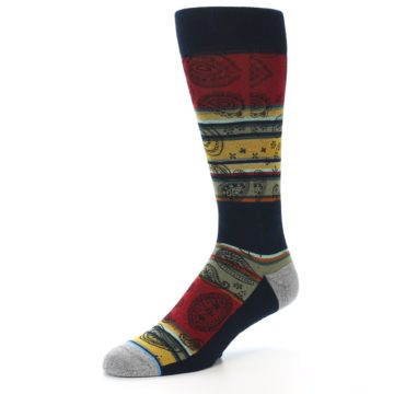 Image of Multi-Color Paisley Men's Casual Socks (side-2-09)