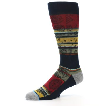 Image of Multi-Color Paisley Men's Casual Socks (side-2-10)