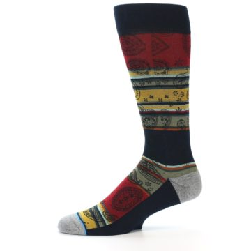 Image of Multi-Color Paisley Men's Casual Socks (side-2-11)
